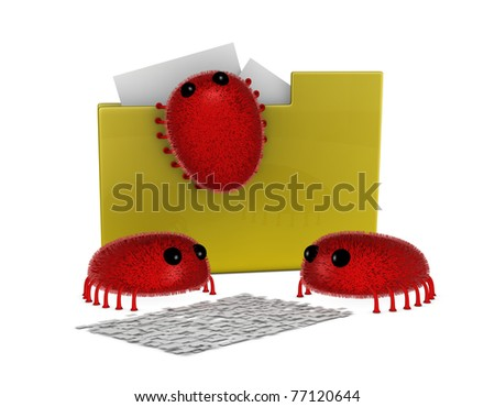 one folder icon attacked by viruses with two of them that are destroying a document (3d render)
