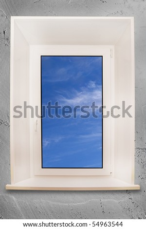 One frame plastic window with blue sky.With clipping path.