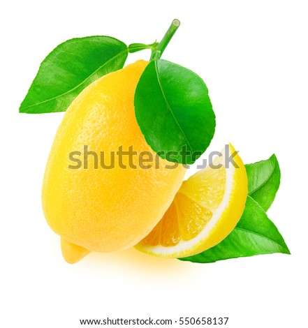 one fresh lemon with leaves and ...
