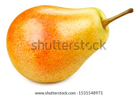One fresh pears clipping path. Ripe pears isolated on white background. The best photo pear.