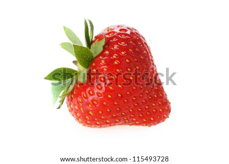 one  fresh red strawberry with leaves