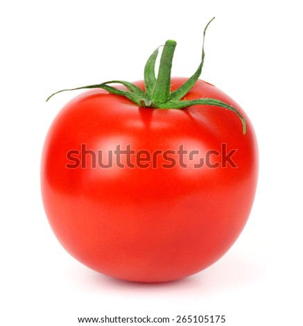 one fresh red tomato isolated on white #265105175