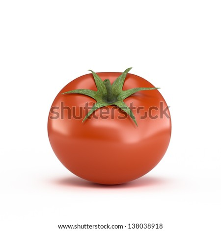 One fresh red tomato isolated on white background