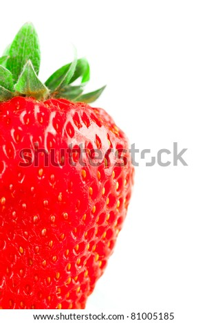 One fresh strawberry on white background, isolated on white