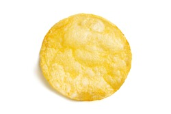 One fried potato chip snack isolated on white background. Delicious single piece of crispy golden chips. Tasty round potato slice in closeup. Top view.
