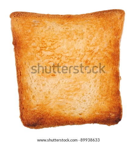 one fried toast bread isolated on white