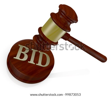 one gavel, like those used on auctioning with the word bid (3d render)