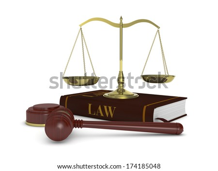 one gavel with a book and a weight balance, concept of law and justice (3d render)