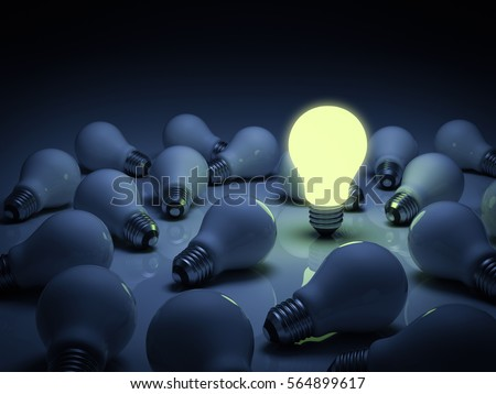 One glowing light bulb standing out from the unlit incandescent bulbs with reflection , leadership and different concept. 3D rendering.