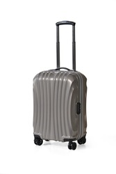 One graphite grey suitcase for travel or graphite grey luggage, graphite grey baggage isolated stand alone on white background with clipping path.