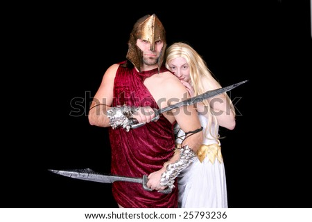one greek soldier protecting his Goddess over black