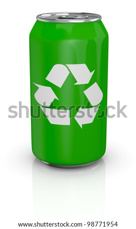 one green aluminum can with the recycling symbol printed on it (3d render)