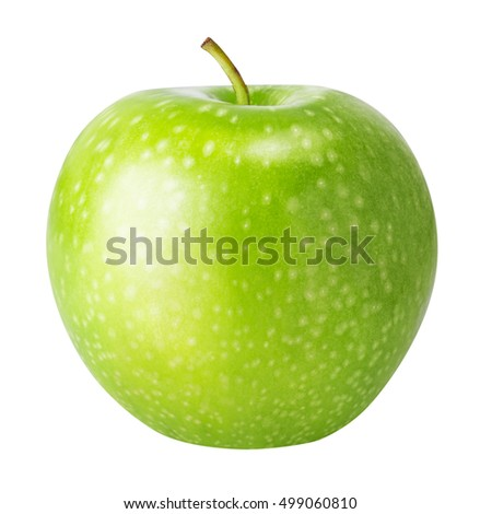 one green apple isolated on a white background clipping path #499060810