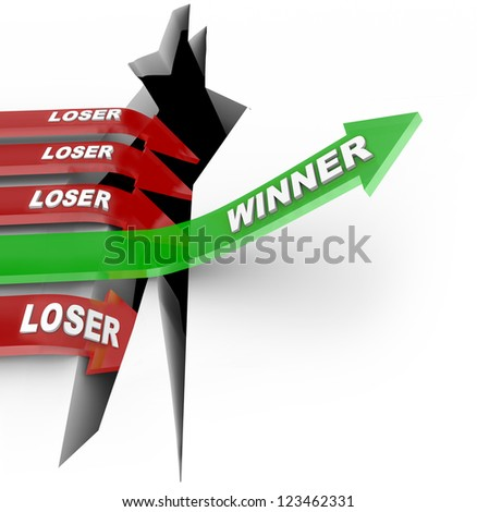 One green arrow with the word Winner jumps over a hole to be declared victor vs other competitors with the word Loser who fall into an abyss to symbolize loss and failure