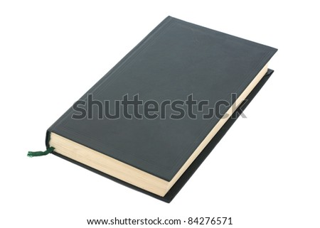 One green blank book with bookmark isolated on white background.