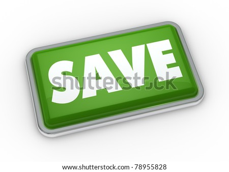 one green button with the word save (3d render)