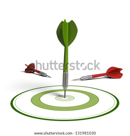 One green dart hit the center of the dartboard and two red darts failed to hit the objective, white background, improving results concept