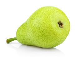 One green pear fruit isolated on white background. Single green pear with clipping path