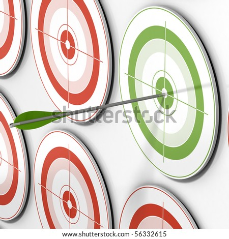 one green target and an arrow hitting the center and many red targets