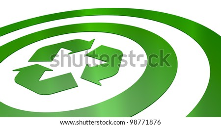 one green target with a recycling symbol at the center (3d render)