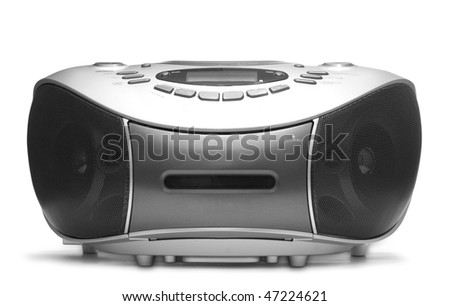 One grey tape recorder isolated on white background