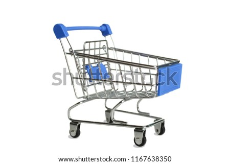 One grocery trolly isolated on white. Concept supermarket.