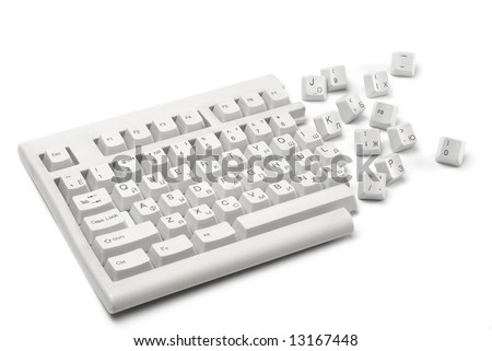 One half of a broken keyboard with keys near isolated on white #1