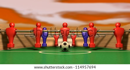 One half of a foosball table at ground level with a soccer ball in front of the red team ready to kick off a soccer match with a red sky hovering