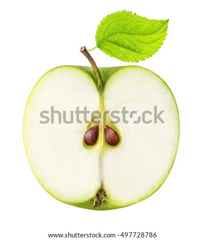 One half of the sliced green apple isolated on a white background clipping path
