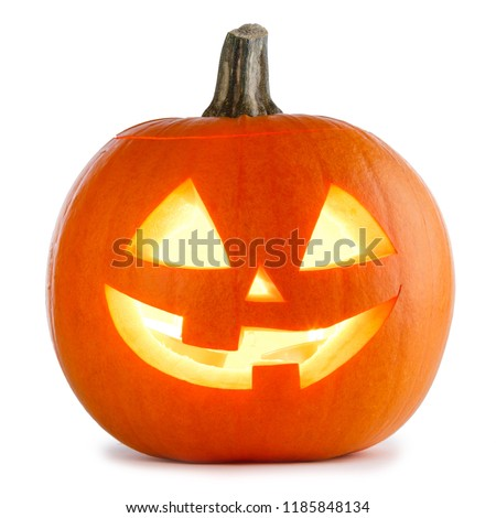 One Halloween Pumpkin isolated on white background #1185848134