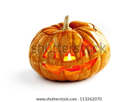 One halloween pumpkin on isolated white background.