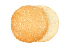 One hamburger bun isolated on white background