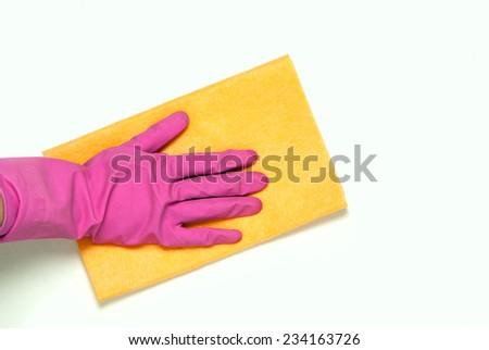 One hand in pink rubber gloves with yellow cloth on a white background #234163726