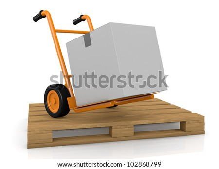 one hand truck (trolley) over a pallet (3d render)