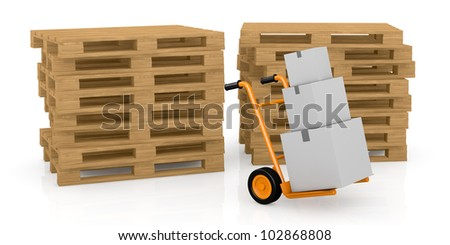 one hand truck (trolley) with carton boxes and two piles of pallets on background (3d render)