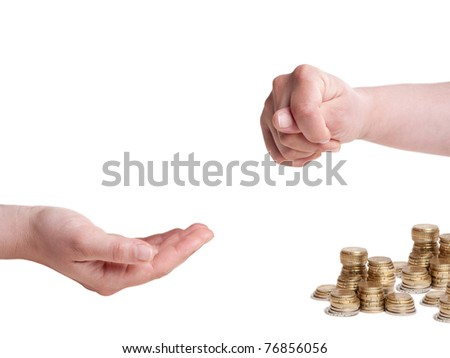 one hand with fico gesture and other one asking for money, isolated on white background Foto stock ©