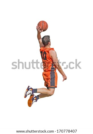 one-handed dunk on white background