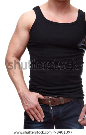 One handsome Caucasian muscular man in black t-shirt isolated on white background.