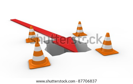 one hole with traffic cones and an arrow falling into it (3d render)