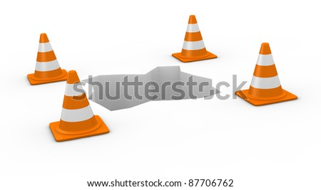 one hole with traffic cones (3d render)