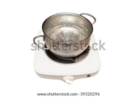 one-hotplate electric stove and pan with boiled water