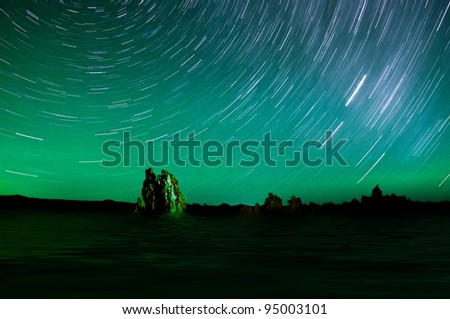 One hour sections of light and star trails over Mono Lake tufas.