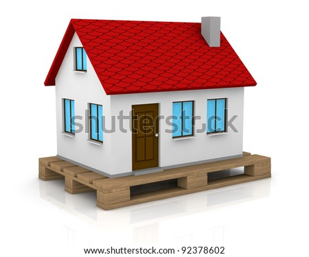 one house over a pallet (3d render)