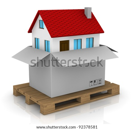one house that goes out from a carton; concept of new house (3d render)