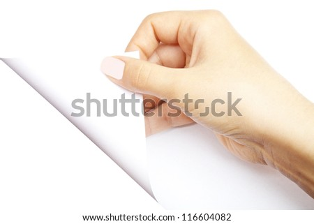 One human hand open white page of paper