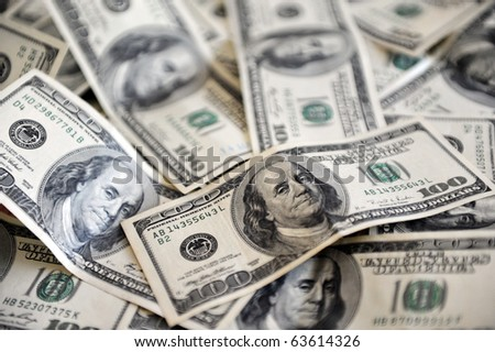 One Hundred American Dollar Bank notes. Concept photo of money, banking ,currency and foreign exchange rates.