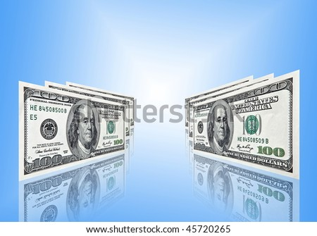 one hundred american dollars banknotes on blue background