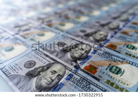 One hundred 100 american dollars bills background. Pile of USA banknotes. Heap of american money background. Hundred dollar bills