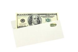 One hundred american dollars in white envelope isolated on white background close up