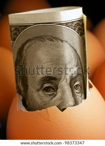 One hundred dollar banknote in eggshell